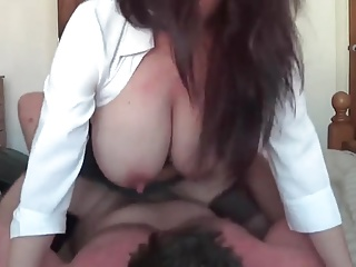 Girl with big tits does blow job.  Amateur