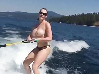 Chelsea Handler topless water skiing
