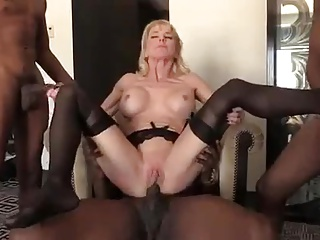 Blonde mature Gilf Interracial Gangbang