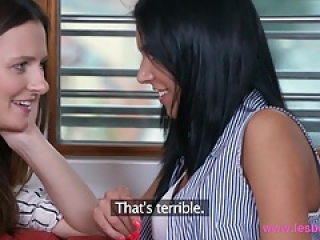 Lesbea Hot brunette lesbians lick and fuck each others holes