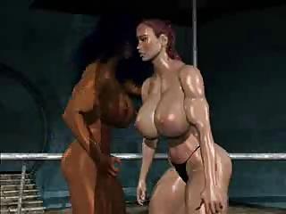 FPZ3d M vs G cat fight toon fistfight girl fight