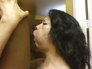 Latina swallowing BBC cum
