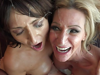two milfs and a facial
