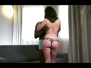 Pretty brunette rolling in a Dick