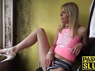 Blonde babe Jentina Small puts sex toys in her pussy and ass