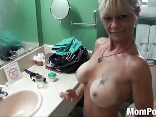 Ex stripper cougar does first porn BTS