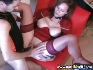 Rate My MILF - fingering and fucking my wife in red stocking
